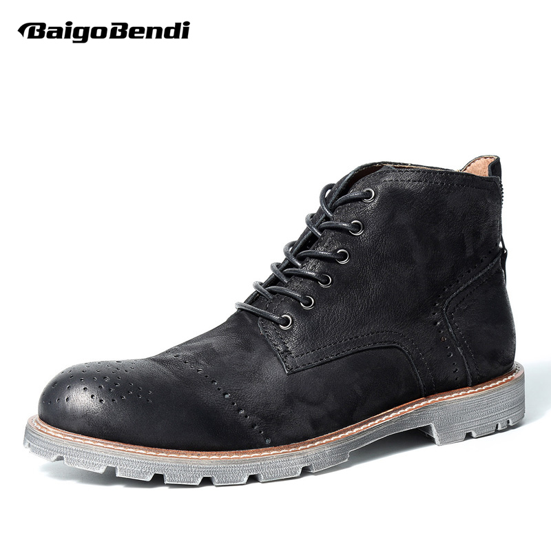 2017 New British Style Mens Retro Brogue Shoes Genuine Leathe Martin Boots Business Man Wing Tips Ridding Boots fall trendboots in europe and america heavy bottomed martin boots british style high top shoes shoes boots sneakers