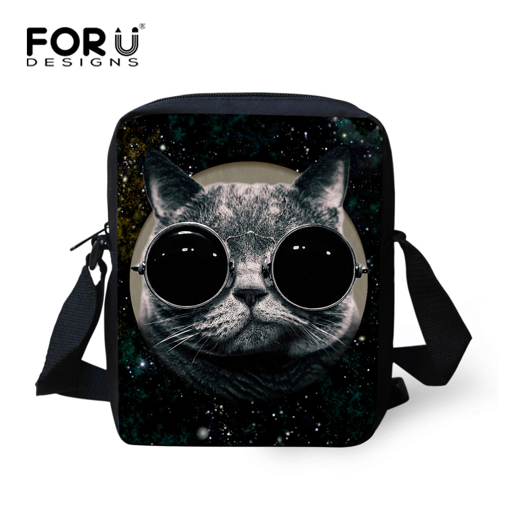 FORUDESIGNS Mini Galaxy Star Cat Messenger Bag for Women Portable Small Children Kids Crossbody Bag Strap Shoulder Bag Polyester