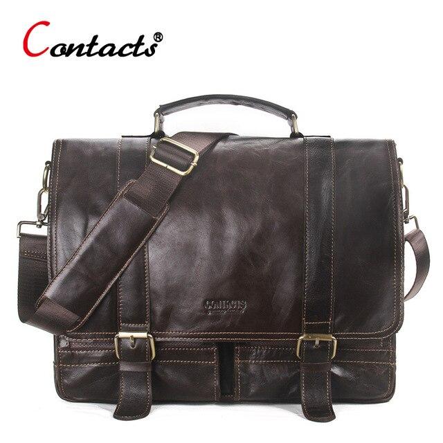 €59.17 28% de DESCUENTO|CONTACT'S bolso cuero genuino hombre bandolera maletin bolsos mensajero hombre de mano bolso piel genuina vaca hombre