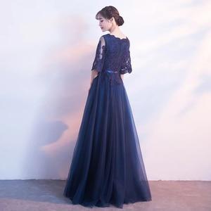 Image 2 - DongCMY Neue Ankunft Abendkleid Bandage Spitze Stickerei Luxus Satin Kurzen Ärmeln Lange Elegante Robe De Soiree Kleid
