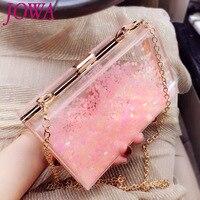2017 New Design Fashion Mini Flap Women S Evening Bags Transparent Acrylic Hard Handbag Pink Heart