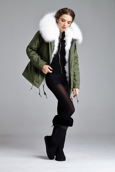 Real fox fur parka in white color fur and real raccoon fur collar ...