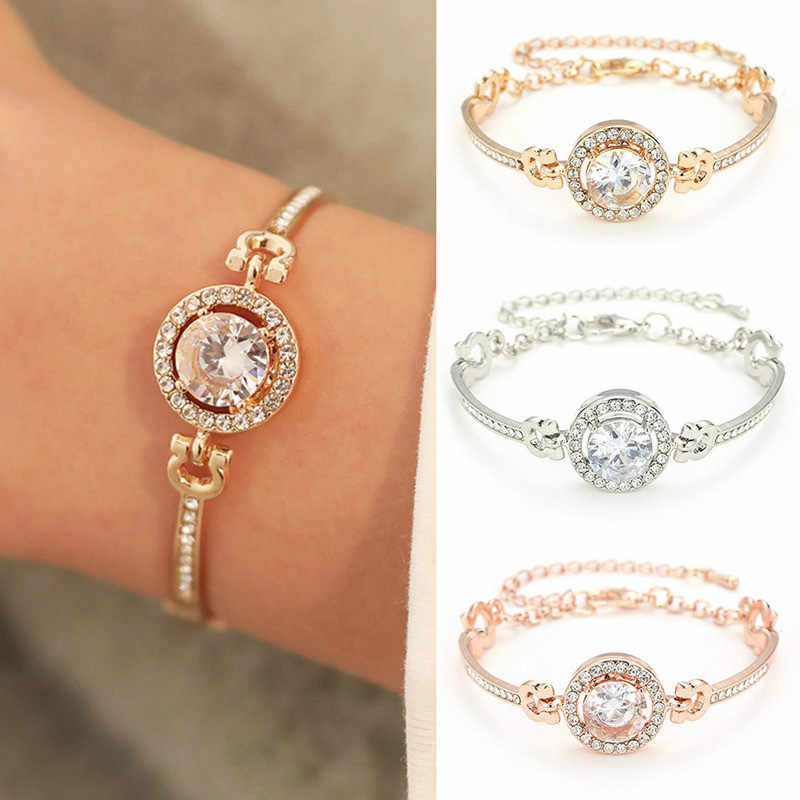 New Personality Noble Rhinestone Charm Bracelets Golden Silver Rose Gold Married Bracelet Women Fashion Jewelry 2019