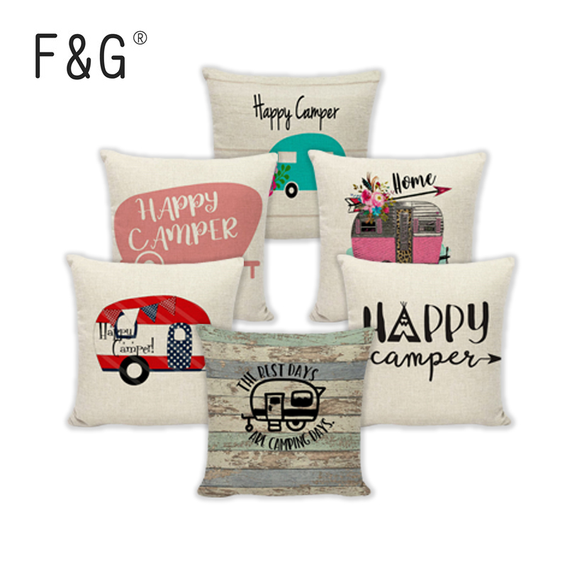 Camper Throw Pillow Cases The best days are camping days Decoration For Home Garden Pillowcases Linen Gifts Cushion Covers in Cushion Cover from Home Garden