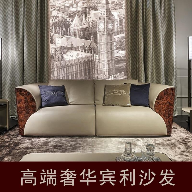 High End Villa Sofa Luxury Post Modern Fabric Pu Sofa