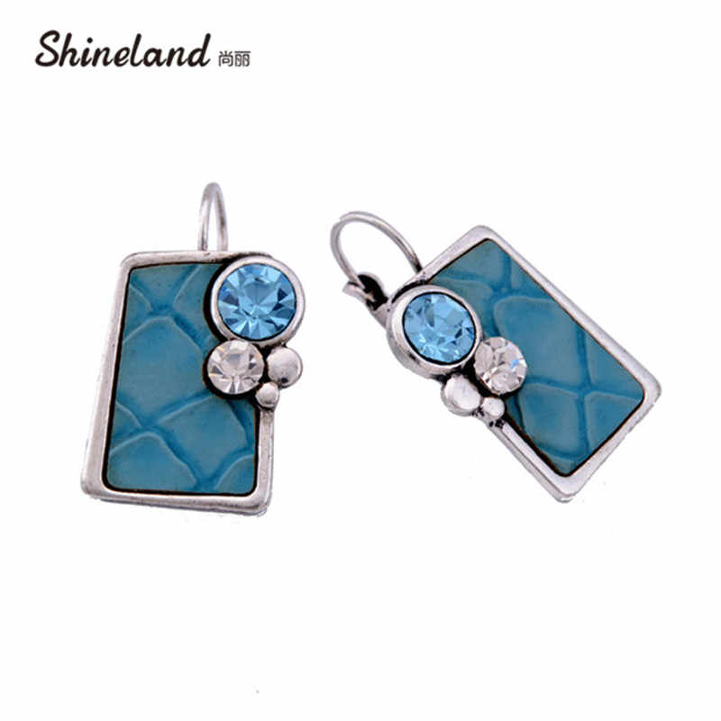 Shineland New Fashion Popular SilverColor Square Shaped Charm Crystals Pendant Cute Statement Dangle Earrings Jewelry for women