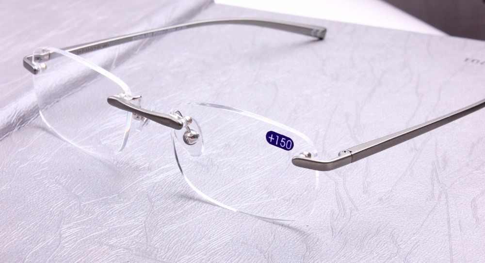 Очки для чтения из сплава al-mg без оправы ультралегкие дужки на пружине очки + 1 + 1,5 + 2 + 2,5 + 2,75 + 3 + 3,25 + 3,5 + 4