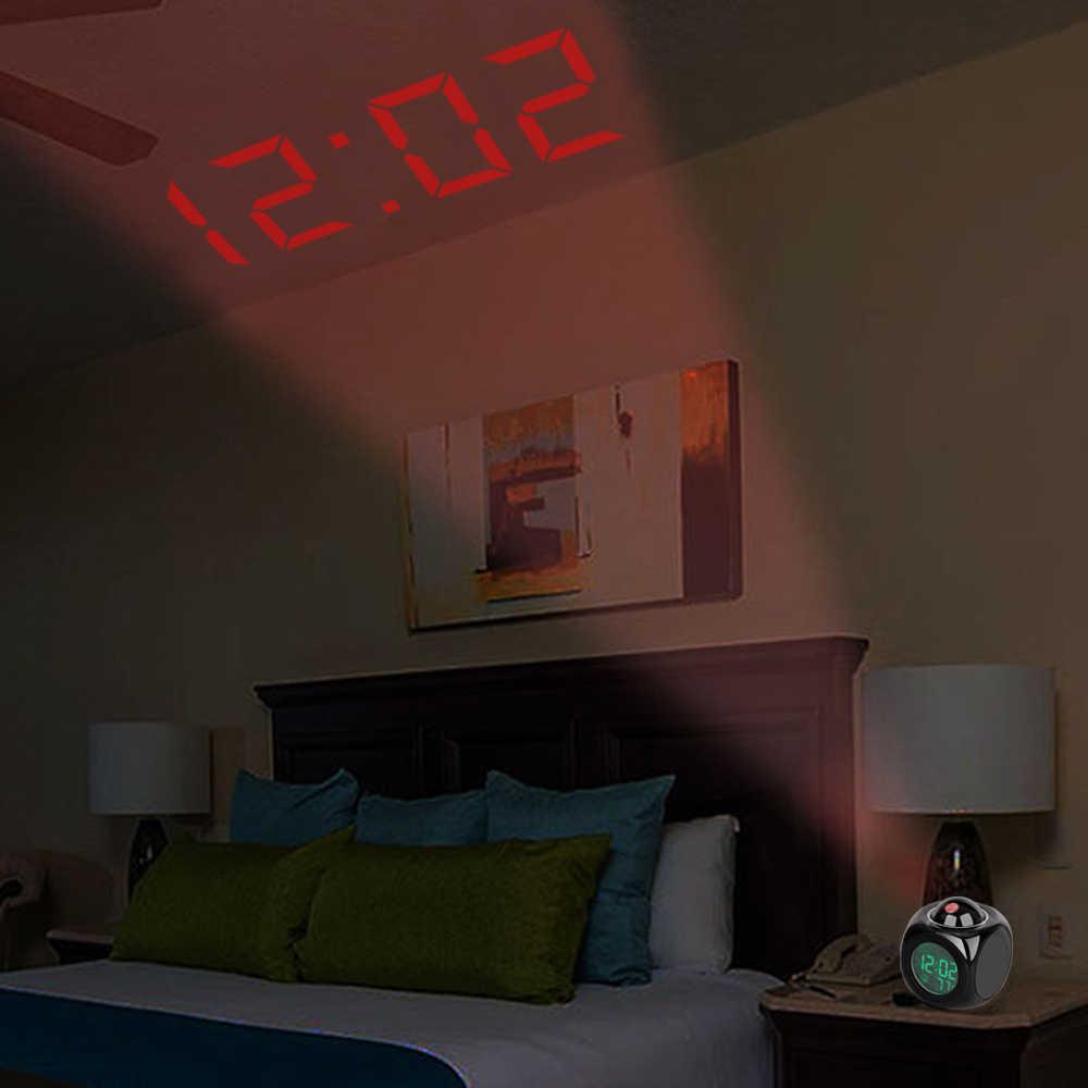 ЖК-дисплей цифровой проекционный говорящий будильник поддержка подсветки функция повтора куб светодиодный настольный часы дисплей часы с градусником