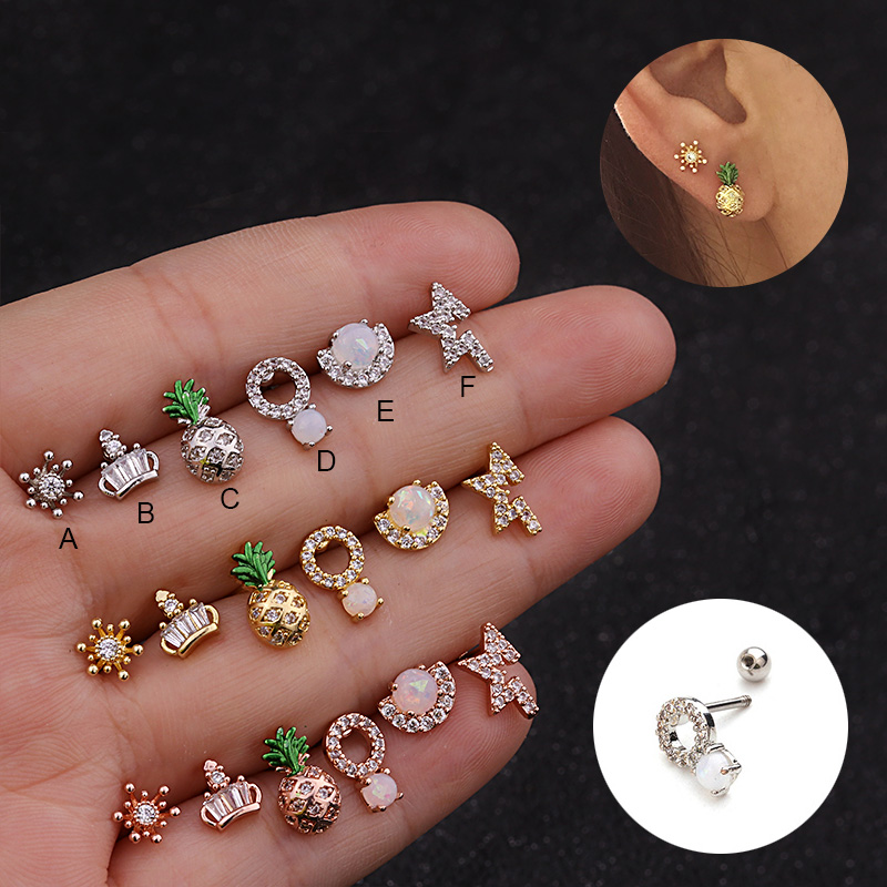 Imixlot Ear Piercing Jewelry 1PC 20g Stainless steel bar and Cz Cartilage Helix Tragus Conch Rook Lobe Screw Back Earring Stud