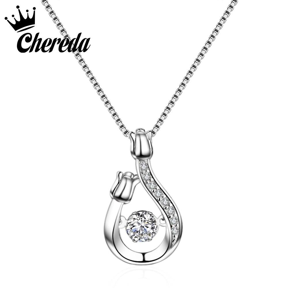 Chereda Silver Flower Necklaces For Women Crystal Pendant Cubic Zirconia Long Necklace Bijoux Jewelry Fine Pendant Wholesale