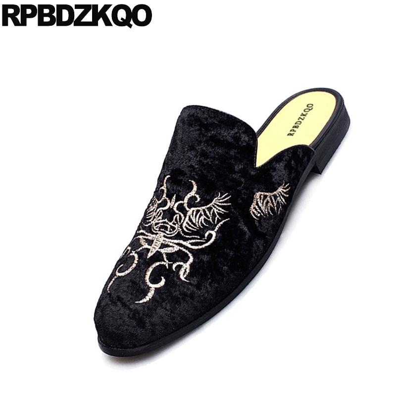 Borracha Casuais Sobre Black Print 1 Elegantes black Moda 2 Animal Designer Preto Apartamentos De Homens 4 2018 black Veludo Sapatos Deslizar 3 Mulas Sola black Bordado Conforto Dos P0wqWcCf