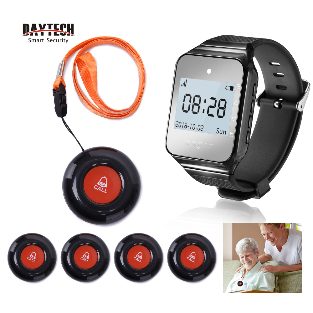 DAYTECH Wireless Calling Pager Watch Receiver Call Buttons Transmitter Hospital Nurse Caregiver Coaster Pager Alert Queue System hospital calling system emergency caller electronic wireless nurse calling system