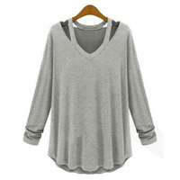 2017 Hot Sexy Women T Shirt Long Sleeve Solid Autumn and Winter Plus Size O Neck Top Solid Black White Long Casual Loose Big
