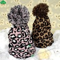 New Fashion Knitted Wool Hats Winter pompom Fall Leopard Ball Cap Beanies Skullies For Men Women