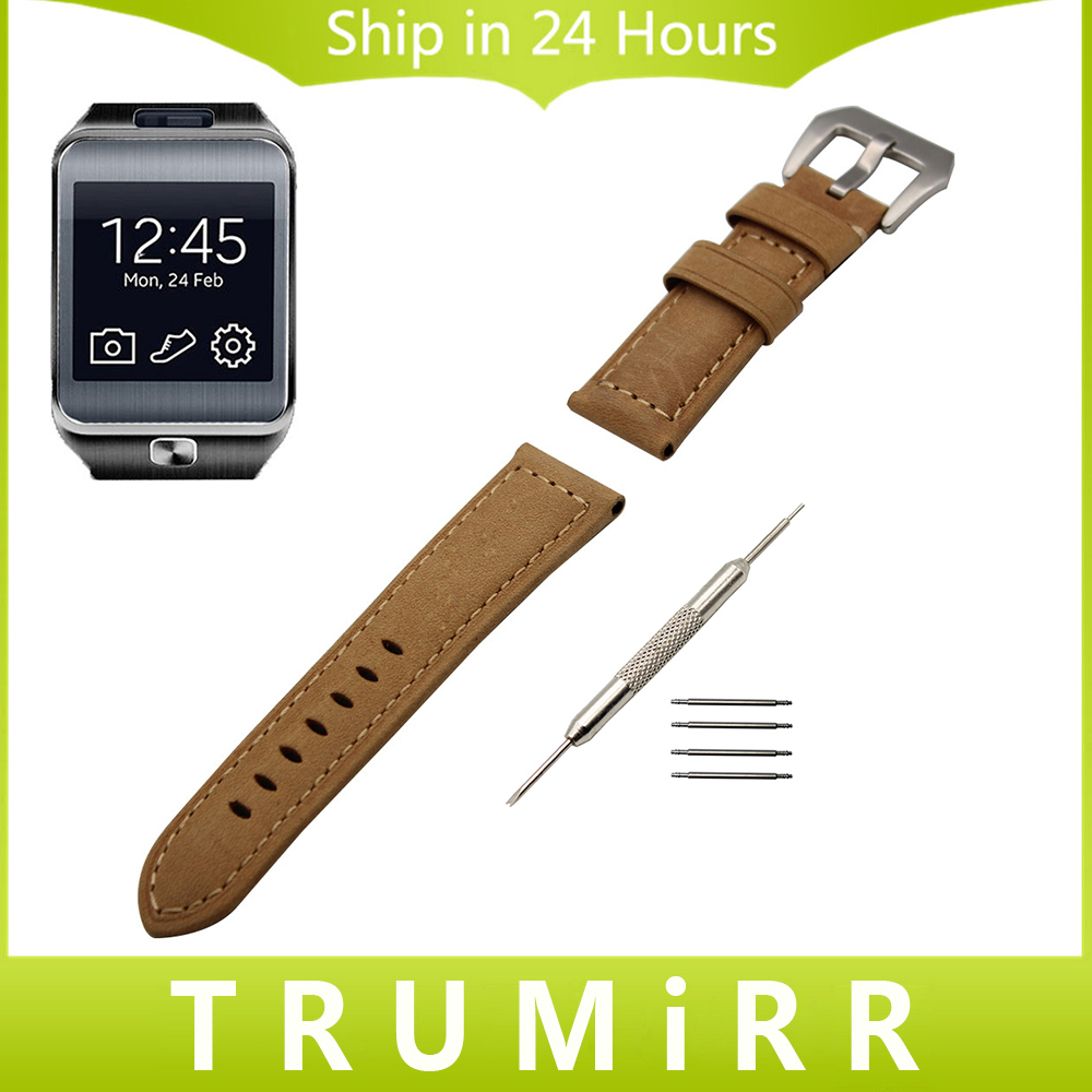 22mm Genuine Calf Leather Watch Band for Samsung Gear 2 R380 Neo R381 Live R382 Wrist Strap Stainless Steel Tang Buckle Bracelet italy calf genuine leather watch band 22mm for samsung gear s3 classic frontier stainless tang buckle strap wrist belt bracelet
