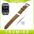 22mm becerro banda de reloj del cuero genuino para samsung gear 2 r380 Neo R381 Vivo R382 Correa de Muñeca Pulsera de Acero Inoxidable Hebilla Tang