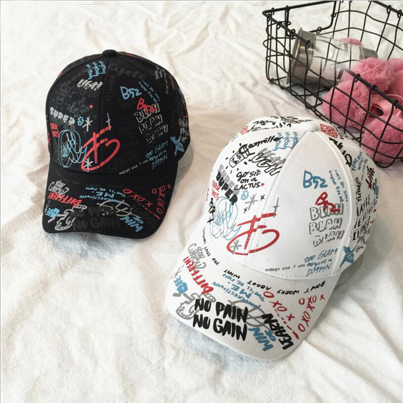 Adult Graffiti Letter Ribbon White Black Flat   Baseball     Cap   Cotton Casual Hat Hip Hop Snapback   Cap   Wholesale Retail Free Delivery