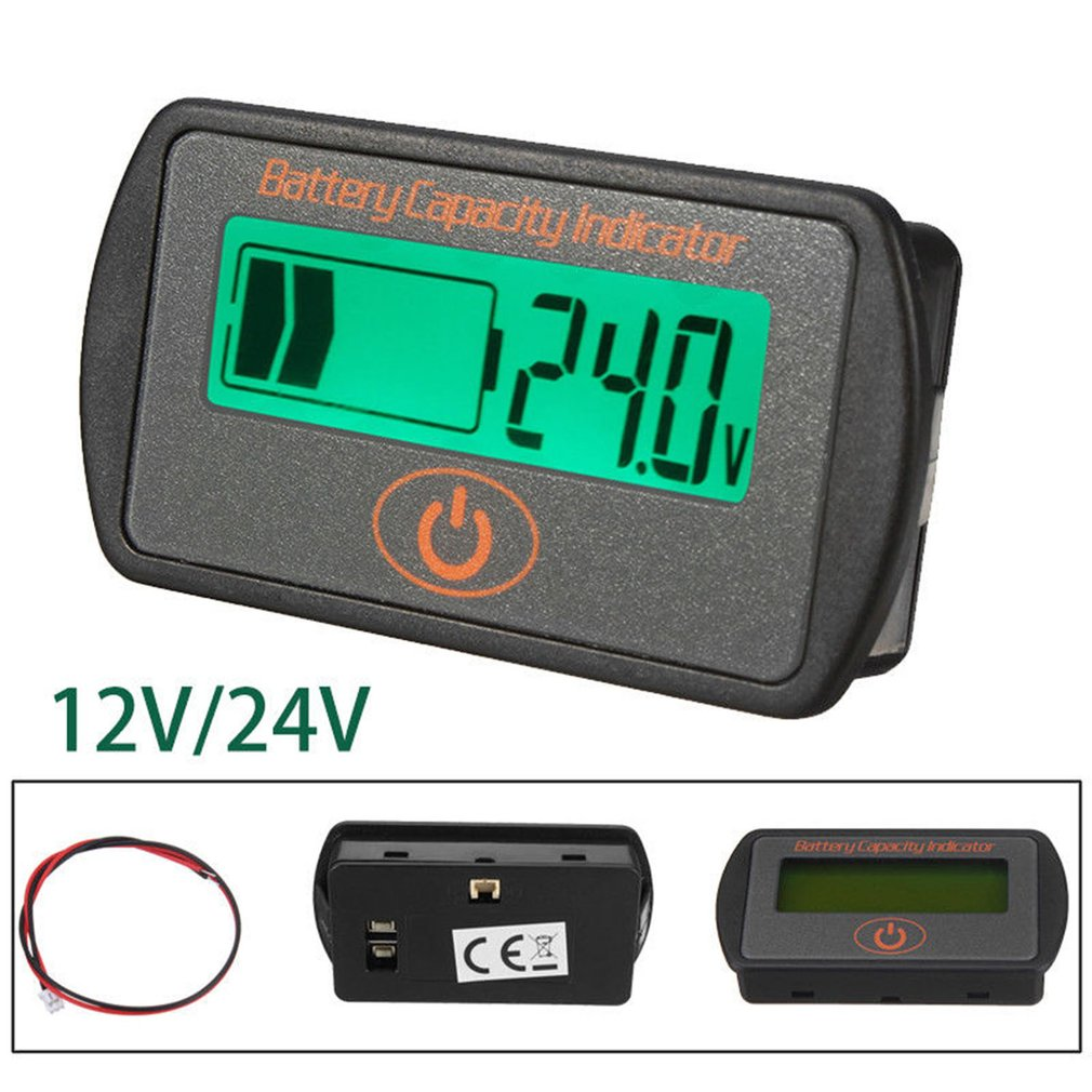 12V/24V Digital <font><b>Battery</b></font> Percentage Voltmeter <font><b>Battery</b></font> Capacity Indicator LCD Display <font><b>Volt</b></font> Meter Tester for Lead-Acid Drop Ship image