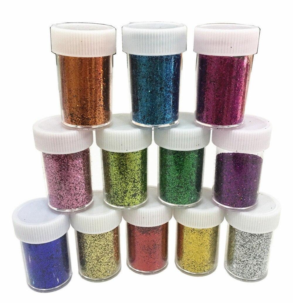 Suministros de limo polvo de brillo lentejuelas para baba artesanía Extra brillo resistente al solvente en polvo agitadores 12 pack brillo