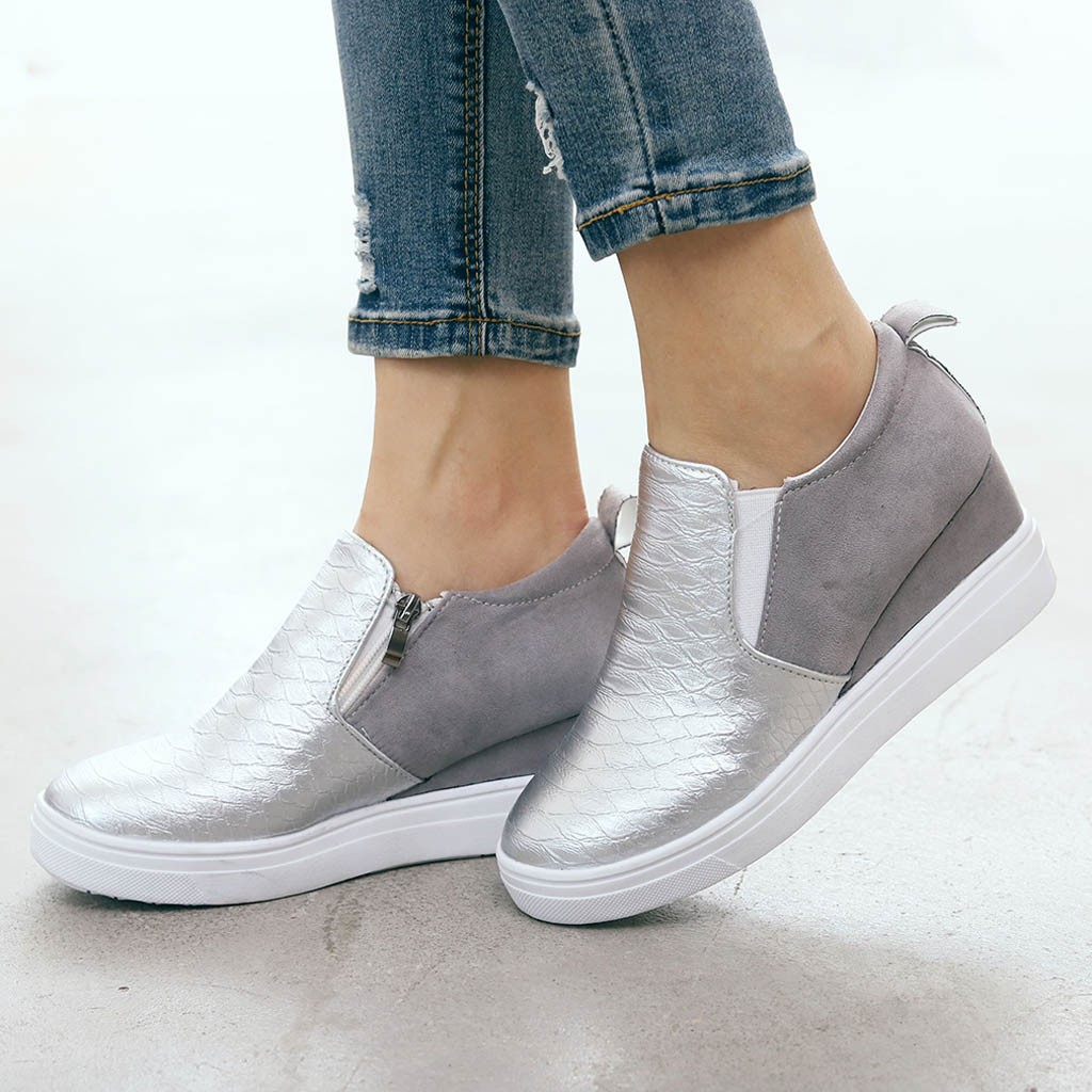 wedges shoes for women Zipper zapatos mujer 2019 chunky sneakers shoes woman chaussures femme  Increased Internal ladies shoes(China)