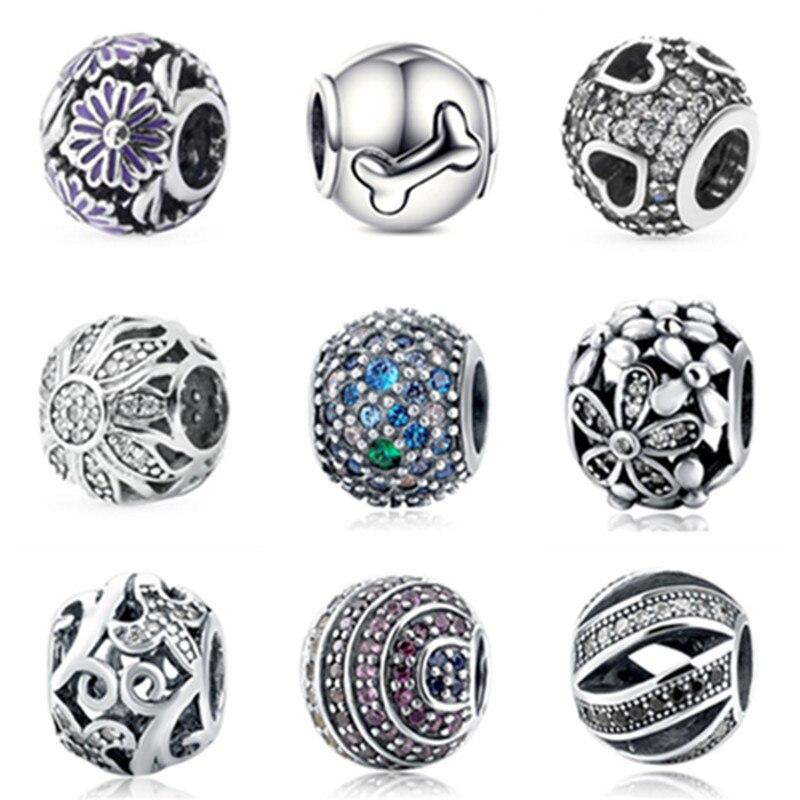 Aliexpress 100% 925 Sterling Argent 925 charme Perles Fit Authentique pandora Bracelet Berloques original pendentif BRICOLAGE Bijoux Cadeau