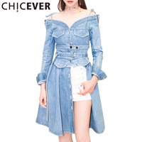 CHICEVER 2017 Summer Autumn Women Dress Female Split V Neck Sexy Off Shoulder Denim Long Dresses
