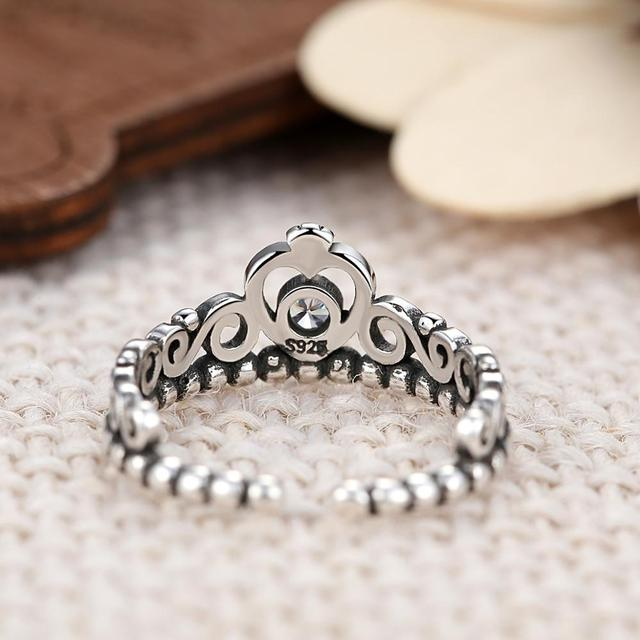 TOGORY Noble Silver Color My Princess Queen Crown Engagement Fine Ring with Clear CZ Women Jewelry Gift