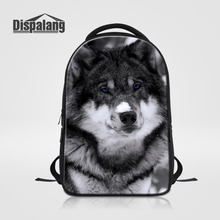 Dispalang животные волк печати рюкзак для ноутбука для мужчин и женщин большой емкости школьные сумки многофункциональный рюкзак для подростков