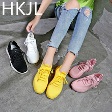 HKJL 2019 spring and summer breathable wild flying woven elastic socks shoes Korean casual mesh sneakers A939