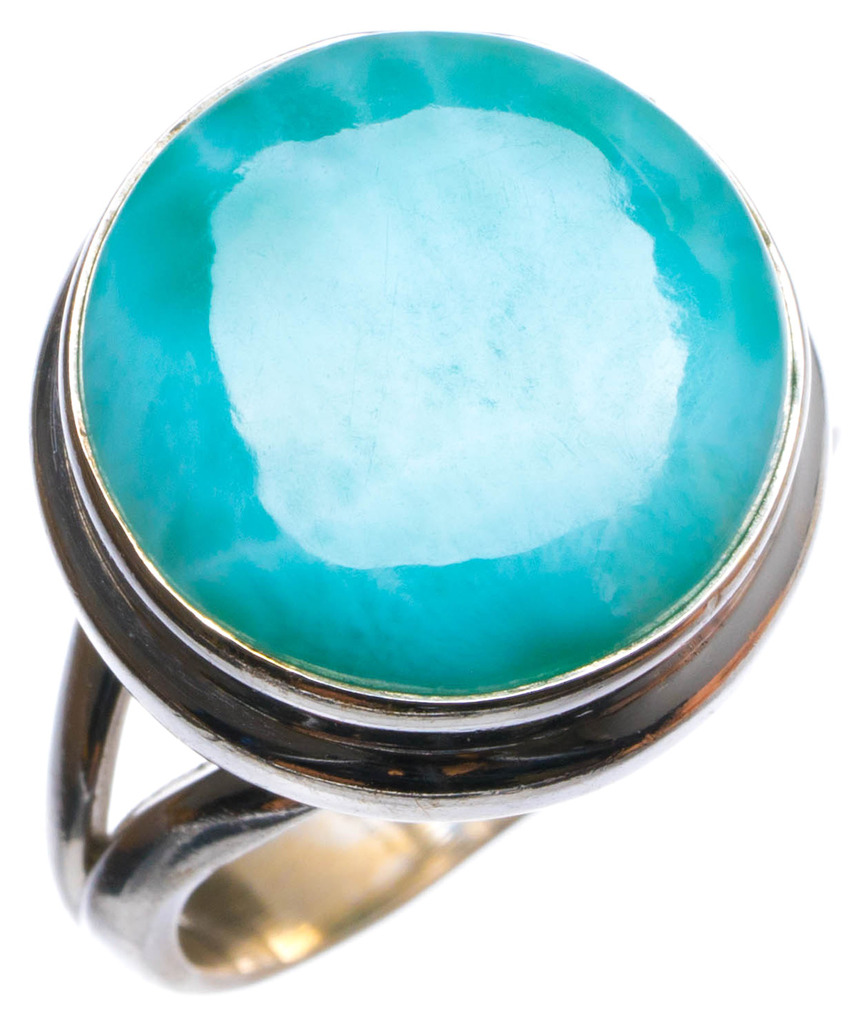 Natural Caribbean Larimar Handmade Unique 925 Sterling Silver Ring, US size 7.75 X2437