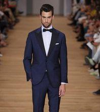 Popular Style Navy Blue Groom Tuxedos Groomsmen Men's Wedding Prom Suits Bridegroom (Jacket+Pants+Bow Tie) K:1138