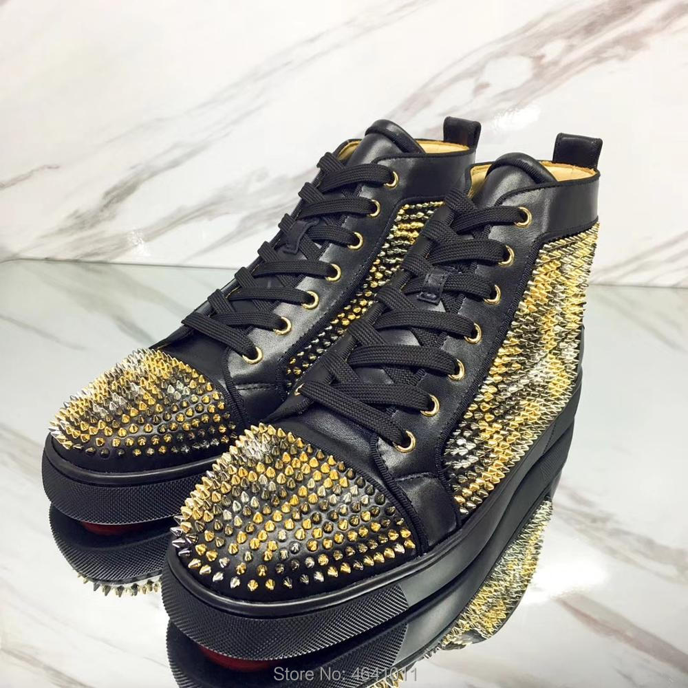 High top Leisure cl andgz Lace Up Black Leopard print Small Rivets Red  bottom For man 07a585e886fb