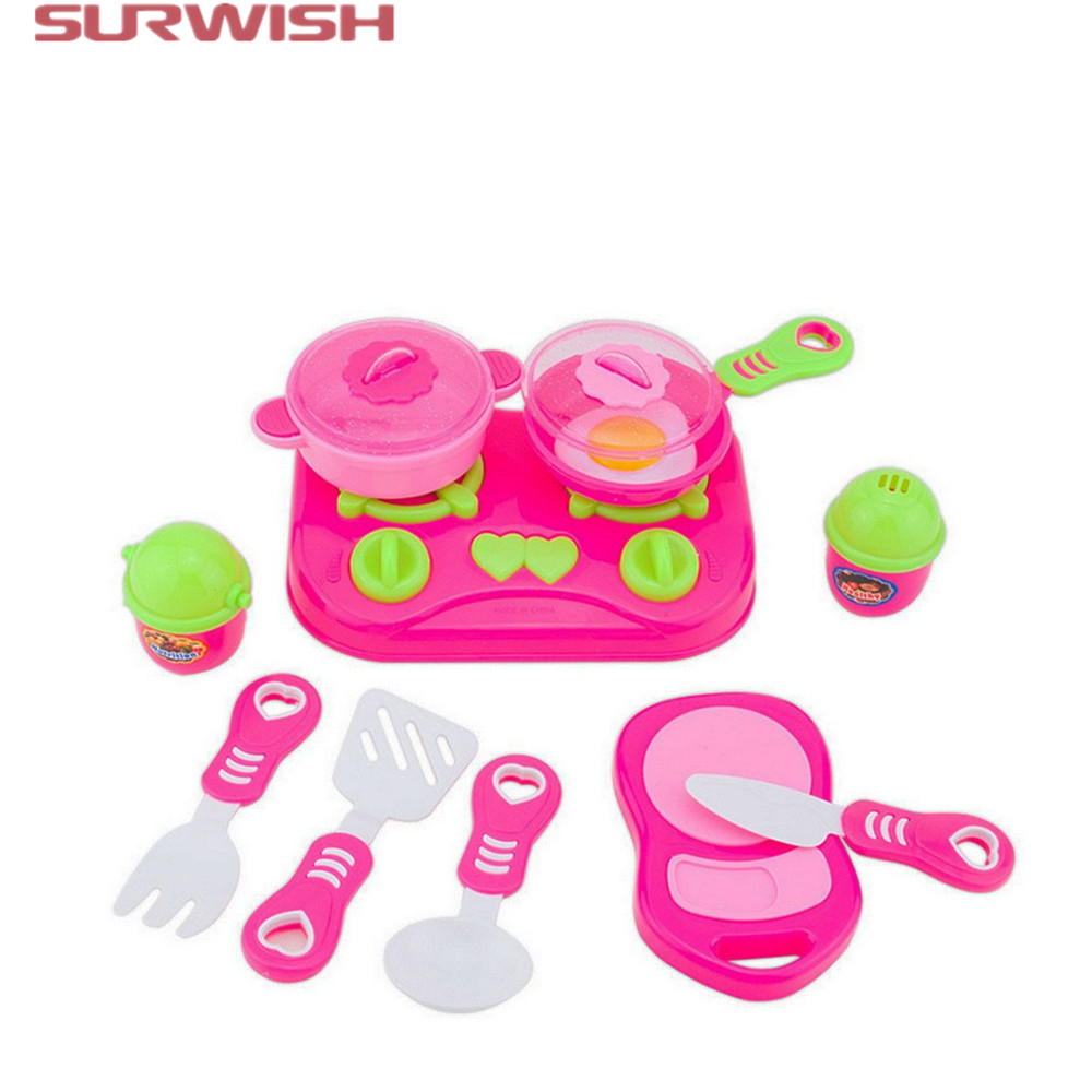 Surwish 11Pcs Pink Kids House children Kitchen Toys For Girls Cooking Food Dishes Cookware Pretend & Play Kitchen Playset toys