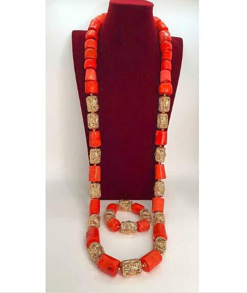 Dubai or mariage africain 50 pouces de Long hommes vraies perles de corail collier Bracelet ensemble de bijoux corail parure de bijoux marié ABH710