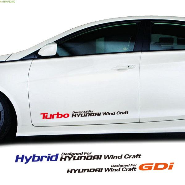 Gdi hybird turbo wind craft design reflective car door stickers and decals for hyundai solaris