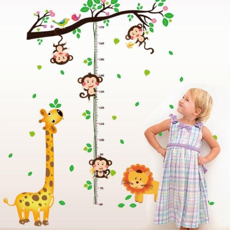 DIY Giraffe Height Chart Ruler Wall Stickers For Kids Rooms Wall Sticker Art Poster Home Room Decor Cartoon Wallpaper Muraux