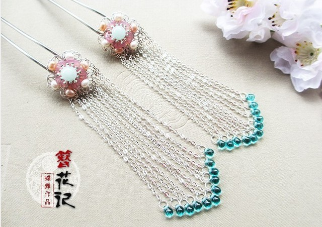 Crystal Long Tassel ZanhuaJi Vintage Classical Hair Stick for TV Play Legend of Chinese Empress WuMeiNiang Handmade Hair Sticks