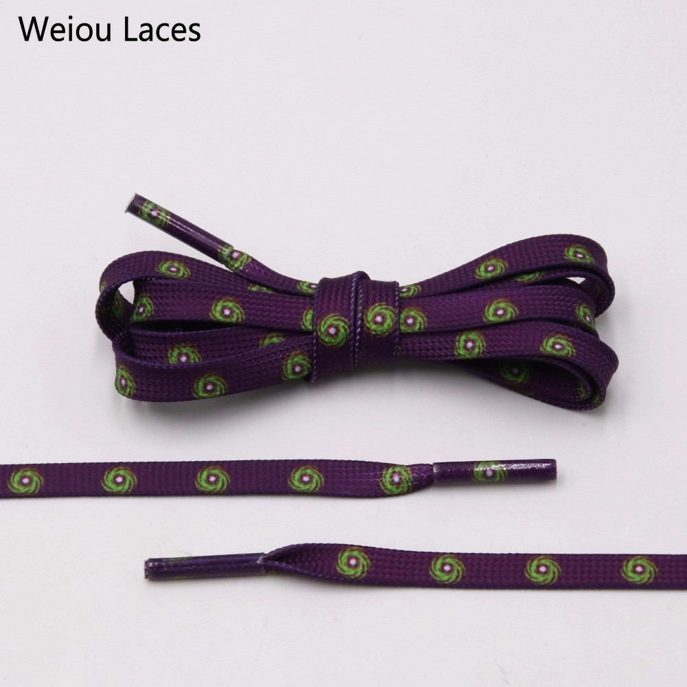 Weiou New Fantastic 7mm Purple Shoelaces With Prints Green Hurricane For Sneaker Sports Shoe Laces Clothing Accessories 60-180cm