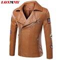LONMMY Motocicleta chaqueta de cuero de los hombres escudo Slim fit abrigo de Ante de Imitación de LA PU de cuello de Solapa Para Hombre chaquetas de cuero de Moda Otoño 2016