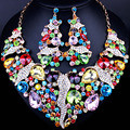2016 Top quality Shiny Multicolour Rhinestone Bridal Jewelry Sets Luxurious Crystal Wedding Jewelry sets for Women Accessories