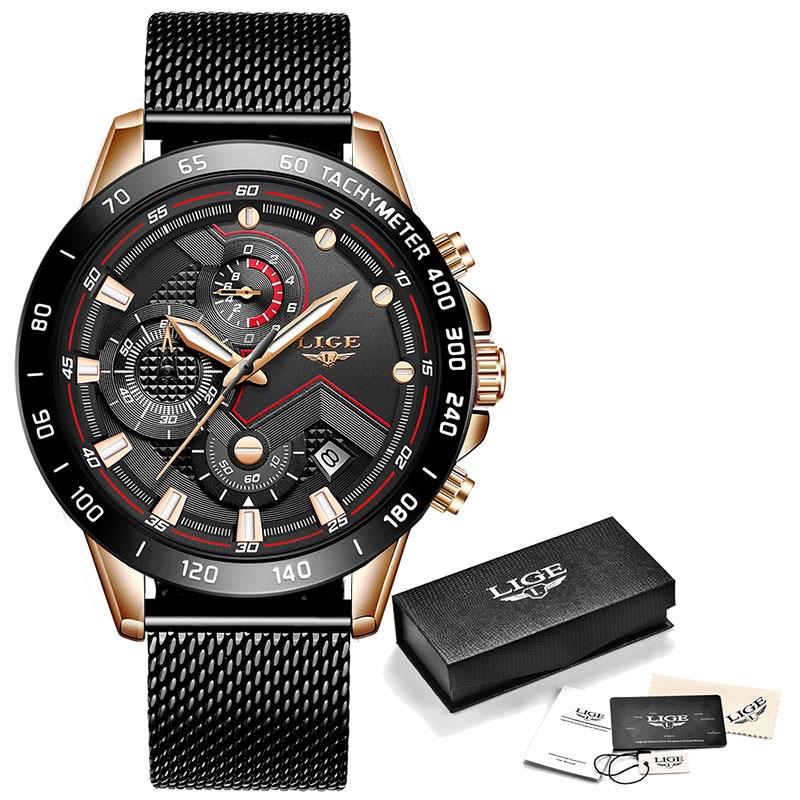 LIGE Fashion Mens Watches Top Brand Luxury WristWatch Quartz Clock Blue Watch Men Waterproof Sport Chronograph Relogio Masculino 7