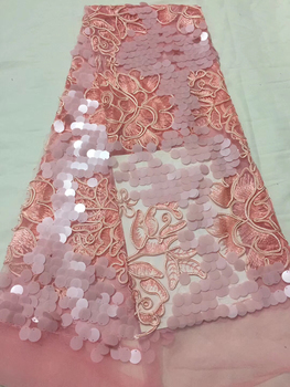 African French Lace Fabric High Quality With Sequins, 3D Applique African French Tulle Lace CD2772
