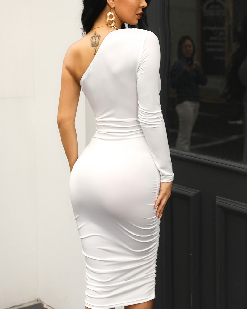 HTB1jIjBRgHqK1RjSZJnq6zNLpXap - Women Elegant Fashion Sexy White Cocktail Party Slim Fit Dresses One Shoulder Belted Ruched Design Bodycon Midi Dress