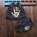 Nueva primavera y otoño bebé niños niñas ropa conjuntos de moda polka diseño de los puntos de manga larga + pantalones trajes para bebés ropa de niños