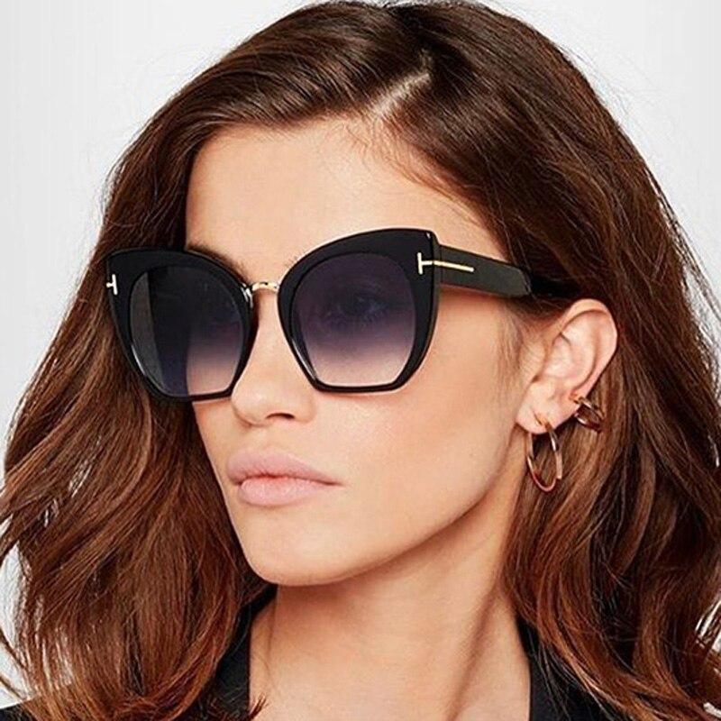 MIZHO-lunettes de soleil œil de chat femme | Lunettes de soleil de qualité de styliste, surdimensionnées, Vintage dégradé de Point, nouvelle mode