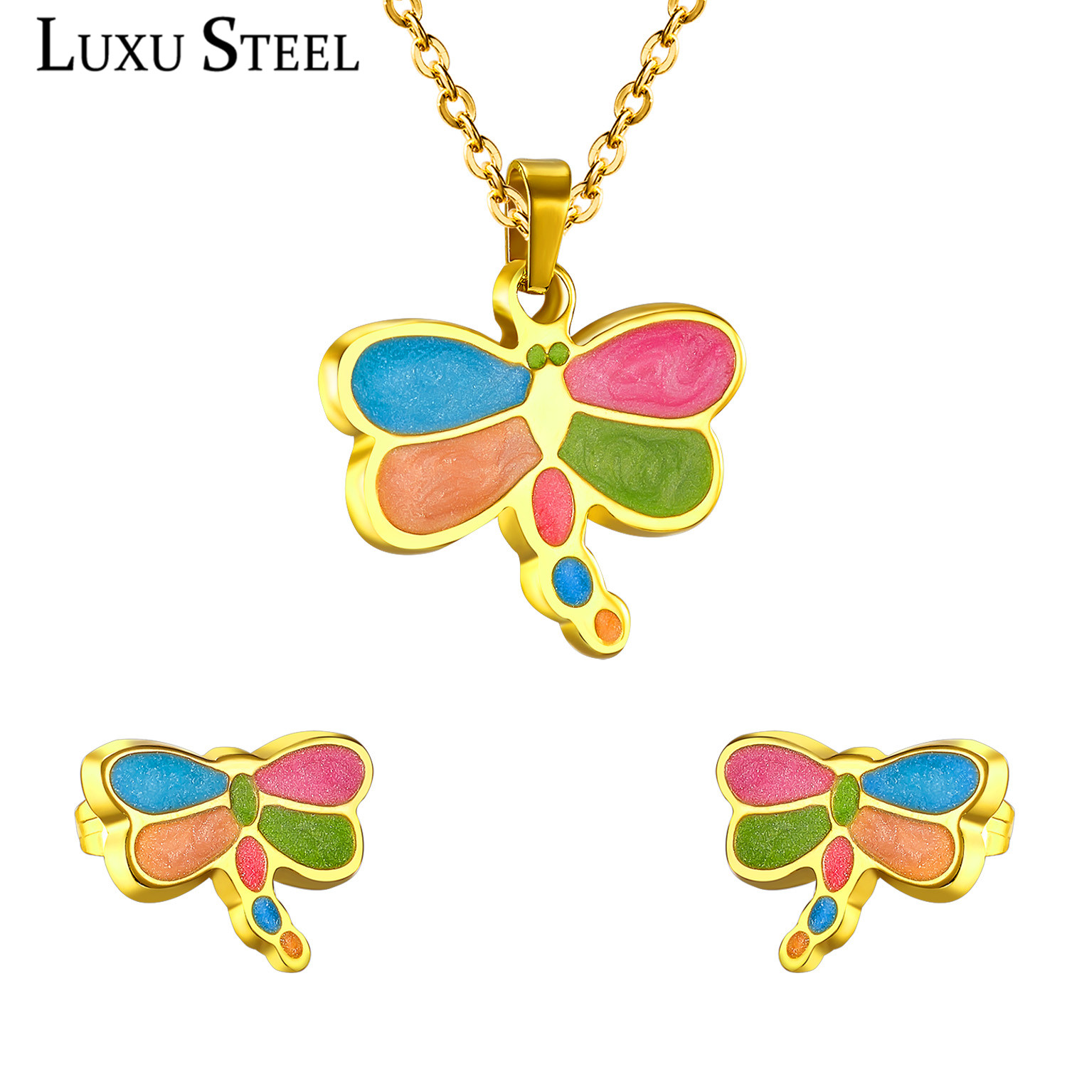 LUXUSTEEL Hot Sale Colorful Dragonfly Pendant Necklace Stainless Steel Sweet Jewelry Sets For Women/Girl Jewelry Gift