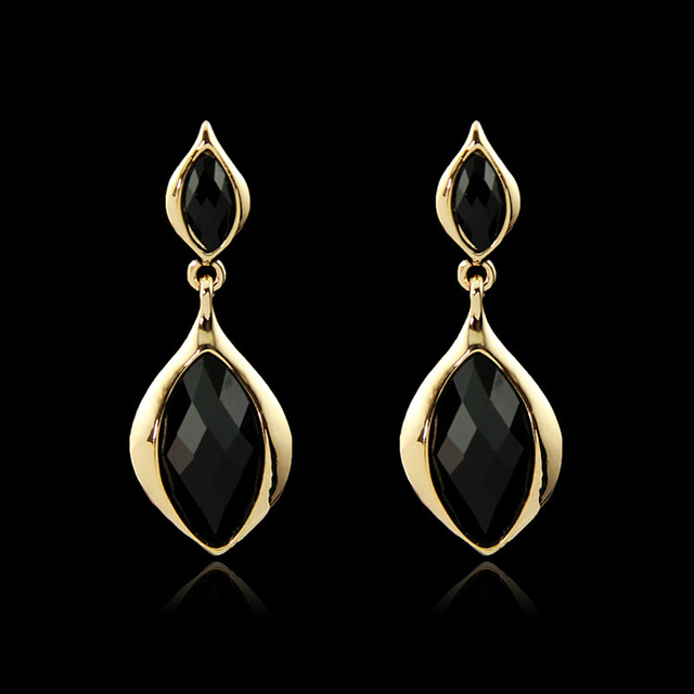 Aaa Black Cubic Zirconia Cz Yellow Gold Color Teardrop Stud Earrings Fashion Party Costume Jewelry For