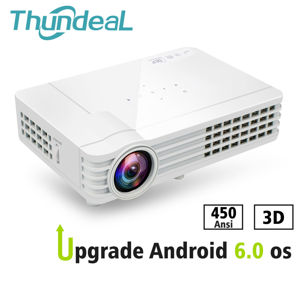 ThundeaL obturador activo 3D proyector DLP DLP-600W DLP900W Android 6,0 WiFi Bluetooth 450 Lumen Ansi HD 3D Video HD Mini proyector