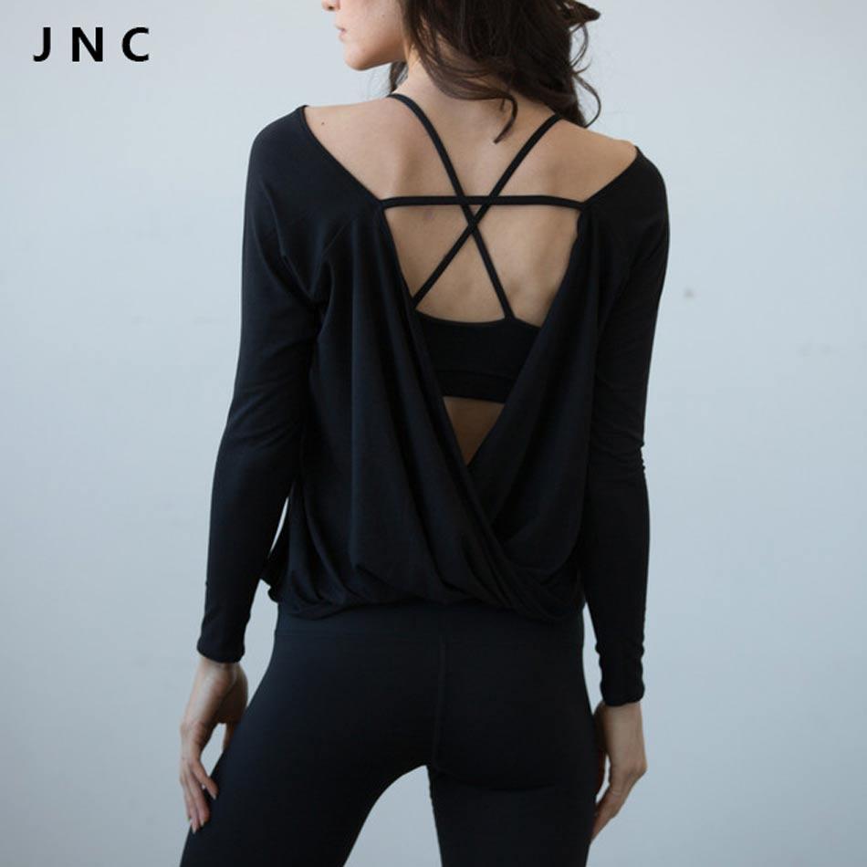 2016 Donne Camicie Allenamento Quick Dry Camicette Pullover di Sport Aperto torna Yoga Top Maglie A Manica Lunga in Nero Activewear Per donne