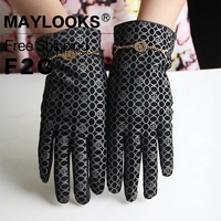 Maylooks Genuine Leather Print Glove 2017 Fashion Women S Warm Accessories Real Sheep Leather Gold Chin
